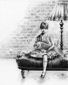 'The Girl and The Goldfish' 2008 (pencil on paper) - Courtney Brims