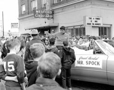 Although not a tribute pic, this was taken the one and only time Leonard Nimoy appeared in public as Spock. It was at the Pear Blossom Parade, Medford, Oregon, 1967. I live in Medford now, but was not at the time.