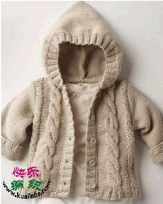 Phildar pattern 'Paletot' and knitted in Wire CABOTINE. It may be in book 12 but the pattern can be purchased for Euro Baby Knitting Patterns, Knitting For Kids, Crochet For Kids, Baby Patterns, Knitting Projects, Crochet Baby, Hand Knitting, Knit Crochet, Knitted Baby