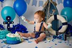 Nautical theme cake smash, Cake Smash— Naturally Posh Photographer