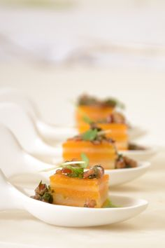Butternut Squash Terrine Spoon #culinarycapers #canape #horsdoeuvre #catering http://www.culinarycapers.com/ Photo: Chef Margaret Chisholm