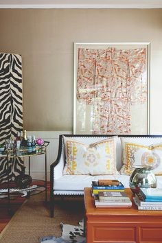 Framed kimono in the living room.  home decor and interior decorating ideas.