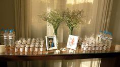 Velas aromatizadas de lembrancinha - Decoração Mesa Batizado