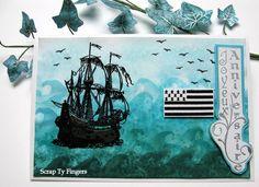 fond distress, bateau et sentiment katzelkraft, drapeau la compagnie des elfes et oiseaux stampin up