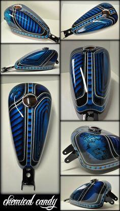 Beautiful airbrush work on a motorcyle tank