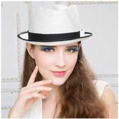 Color block straw sun hat with bow for women roll brim fedora hats