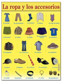 Level 7 - Ropa, zapatos y accesorios, ropa, zapatos, accesorios, clothes, clothing, shoes, shoewear, accessories, vocabulario, vocabulary, Spanish, español - Memrise