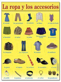Level 7 - Ropa, zapatos y accesorios, ropa, zapatos, accesorios, clothes, clothing, shoes, shoewear, accessories, vocabulario, vocabulary, Spanish, español - Memrise