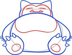 how to draw snorlax, snorlax step 4