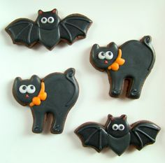 Cat and Bat Halloween Cookies