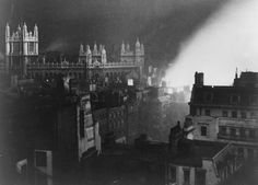 1940. The State Archives in London, lit by the light of burning buildings neaby. (LOC)