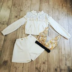 #jacket #ecoleather #top #gold #short #totalwhite #springsummer2018