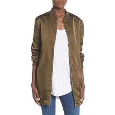 Missguided Satin Longline Bomber Jacket (230 ILS) ❤ liked on Polyvore featuring outerwear, jackets, khaki, long jacket, brown jacket, long flight jacket, bomber jacket and long military jacket