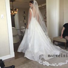 Gorgeous 1 T Bridal Long Cathedral Wedding Veil White/Ivory Lace Purfle 2.5 M