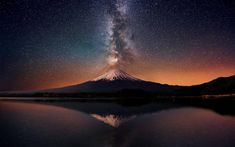 Milky Way behind Mt. Fiji, Japan
