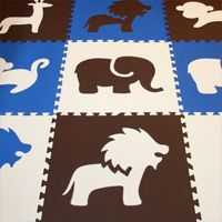 SoftTiles Animals in Blue, Brown, White.  I love the idea of this one the kid's floor instead of rugs.