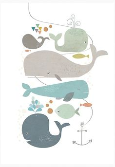 Win: 3 prints from Paper Moon - Things I Love Whale Illustration, Character Illustration, Cute Whales, Underwater Art, Paper Moon, Cute Cartoon Wallpapers, Watercolor Animals, Grafik Design, Kids Fashion Boy