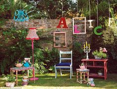 Transform old furniture, plain picture frames or a basic candelabra into masterpieces by covering them in bright fabric