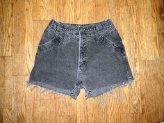Vintage Denim Cut Offs - Vintage 80s/90s Black Stone/Acid Washed Jean Shorts - High Waisted Cut Off/Frayed Short Shorts - 10 Dollar Sale. $10.00, via Etsy.