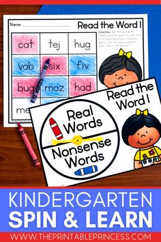 """This resource is a perfect way to make Kindergarten literacy and math centers EASY to prep and plan, interactive, meaningful, and FUN while focusing on letter recognition, phonemic awareness, CVC and CVCe words, shapes, making 10, addition, subtraction and MORE! With 100 center activities included, there's more than enough to incorporate a """"spinner center"""" in your classroom the entire school year! Subtraction Activities, Kindergarten Math Activities, Word Work Activities, Counting Activities, Alphabet Activities, Preschool Classroom, Classroom Ideas, Cvce Words, Nonsense Words"""