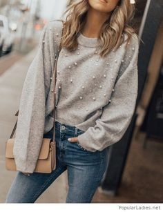 Pearl blouse and jeans