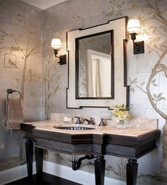 Powder Room Wallpaper Design Ideas, Pictures, Remodel, and Decor - page 7 Hand Painted Wallpaper, Metallic Wallpaper, Handmade Wallpaper, Unique Wallpaper, Beautiful Wallpaper, Powder Room Wallpaper, Wallpaper Panels, Silk Wallpaper, Interior Design 2017