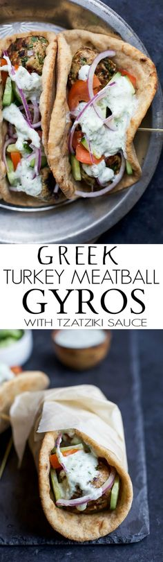 30 Minute Greek Turkey Meatball Gyros topped with a classic Tzatziki Sauce you'll want to swim in! These Gyros are the perfect healthy dinner option for the family and clock in 429 calories! (Healthy Recipes For Family) Tzatziki Sauce, Salsa Tzatziki, Comida India, Healthy Dinner Options, Paleo Dinner, Dinner Healthy, Healthy Recipes For Dinner, Le Diner, Enchiladas