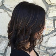 A beautifully subtle balayage with a dark chocolate base on a long bob