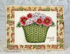 Gina K Spring Basket - by PaperPerfections. Paper pieced basket, rest C2, W1, R000, R20, R30, R32, G40, G82, G85,R83,