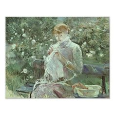 Young Woman Sewing in A Garden Print