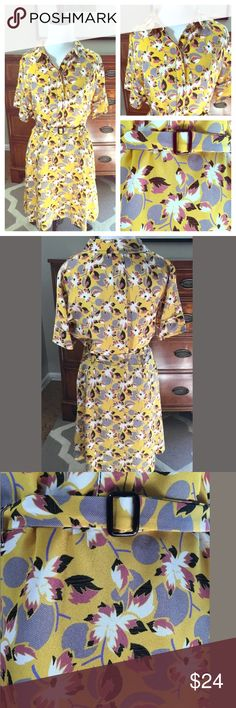 """Topshop Retro Vintage Style Floral A-line Dress Topshop vintage style, floral, a-line dress. Stunning mustard yellow gives a retro look. Adjustable belt at waist. Tiny stain below the belt (can barely see). Women's size 10, length: 36"""" Topshop Dresses Mini"""