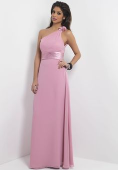 ce1d6a1e84a9 Alexia Designs style Dusty Rose bella chiffon, floor length dress with  rosette detailed shoulder strap and charmeuse pelated waistband.