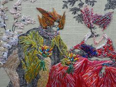 Richard Saja, detail of A Three Day Party, Courtesy of the artist. - - - 11 Artists Using Embroidery in Radical Ways - Artsy Modern Embroidery, Embroidery Applique, Embroidery Stitches, Embroidery Patterns, Fabric Embellishment, Embellishments, Art Articles, Thread Painting, Identity Art