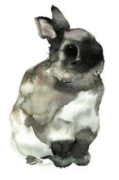 Sweet little watercolour of a rabbit