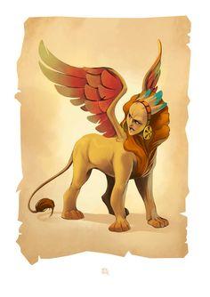 Sphynx, Sphinx by Sphynx, Mythological Creatures, Fantasy Creatures, Mythical Creatures, Greek Gods And Goddesses, Greek And Roman Mythology, Fantasy Races, Fantasy Art, Game Character Design