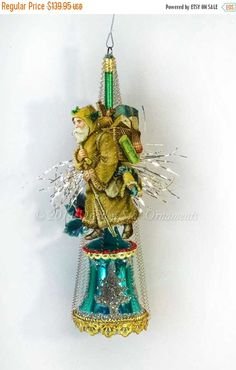 Sale 25% Off Woodsy Santa on Green Glass by DresdenStarOrnaments