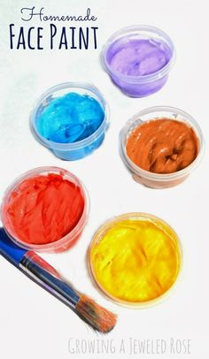 Easy homemade face paint: lotion, cornstarch, and food coloring (or washable watercolor to avoid staining skin).