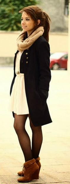 Black Coat And Scarve With Booties And Tights