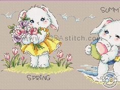 Cross Stitch Baby, Four Seasons, Comics, Sewing, Soda, Fictional Characters, Rabbits, Cross Stitch Embroidery, Cross Stitch