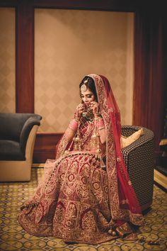 Indian bride wearing Red lehenga