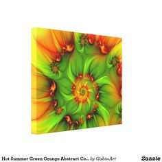 Hot Summer Green Orange Abstract Colorful Fractal Canvas Print
