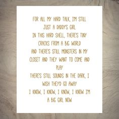 For all my hard talk - I'm still just a daddy's girl - in this hard shell - there's tiny cracks from a big world - PINK - Lyrics - Printable Pink Song Lyrics, Music Lyrics, Circle Game Lyrics, Robin Williams Quotes, Zig Ziglar Quotes, Success Meaning, Daddys Girl, Lyric Quotes, Music Stuff