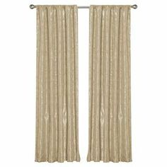 """Beige curtain with cord embroidery and sequin accents.    Product: Curtain panelConstruction Material: Polyester taffetaColor: BeigeFeatures:  Cord embroidery and sequin detailsRod pocket slides onto curtain rod for installation Dimensions: 84"""" H x 54"""" WNote: Image depicts two curtain panels, but price is for one Cleaning and Care: Dry clean only"""