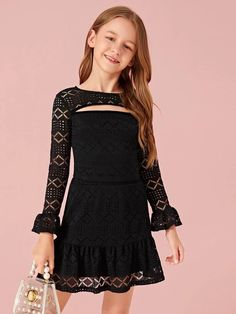To find out about the Girls Cutout Front Lace Top & Ruffle Hem Skirt Set at SHEIN, part of our latest Girls Two-piece Outfits ready to shop online today! Girls Fashion Clothes, Tween Fashion, Teen Fashion Outfits, Kids Outfits, Girl Fashion, Two Piece Outfit, Outfit Sets, Skirt Set, Girls Dresses