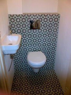 Cementtiles Toilet - verde 05 - Project van Designtegels.nl