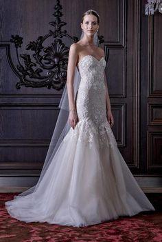 Monique Lhuillier strapless embellished wedding dress with fishtail hem