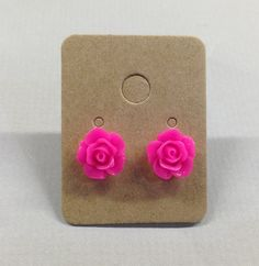 Pink Resin Rose Cabochons 10mm Earrings by RatDogInk on Etsy