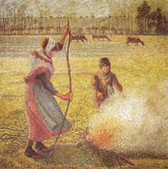 Camille Pissarro - Young Peasant Girl Starting a Fire - Ho… | Flickr - Photo Sharing!