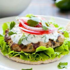 Cumin Zucchini Turkey Burger with Cilantro Aioli.