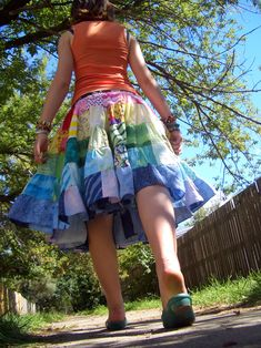 Absolutely insane rainbow patchwork 7 metre circle skirt! - CLOTHING
